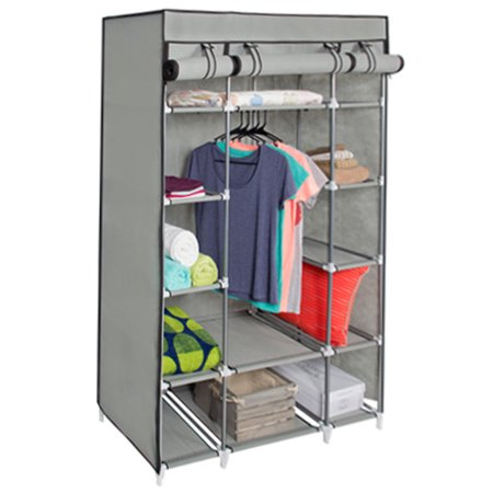53  Portable Closet Storage Organizer Wardrobe Clothes Rack With Shelves  Gray. 53  Portable Closet Storage Organizer Wardrobe Clothes Rack With