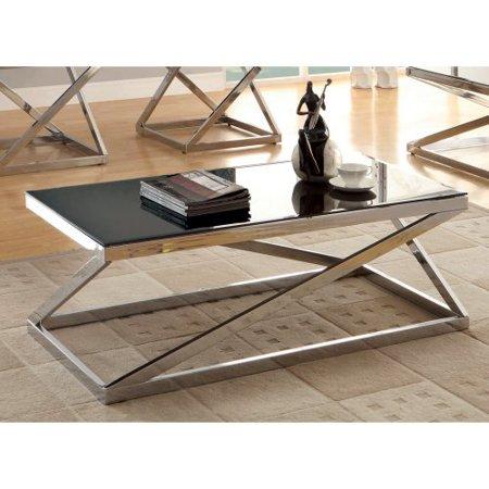 Furniture Of America Bellegra Rectangular Beveled Tempered Glass Coffee Table Chrome Black