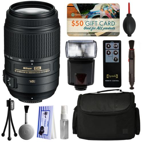 Nikon AF-S DX NIKKOR 55-300mm f/4.5-5.6G ED VR Lens 2197 with Starter Accessories Bundle includes E-TTL II Flash + Large Case + Remote Shutter Release + Cleaning Kit + $50 Gift Card for Prints