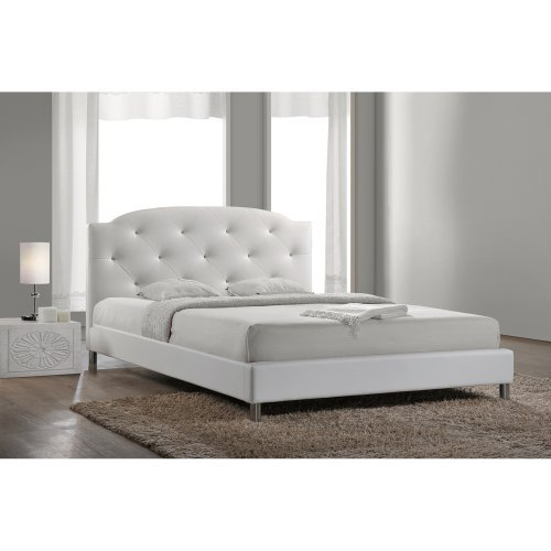 Baxton Studio BBT6440-Full-White Canterbury Platform Bed with Crystal Tufted Headboard  Chrome Legs  Polyurethane Foam Padding and Faux Leather Upholstery
