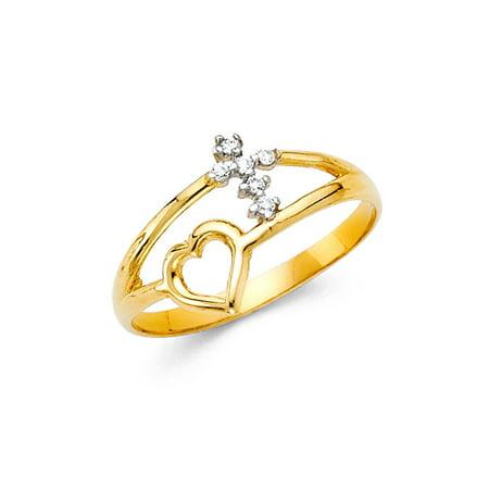 14K Solid Gold Cross Heart Cubic Zirconia Fancy Ring, Size 9 Cross Solid 14k Gold Ring