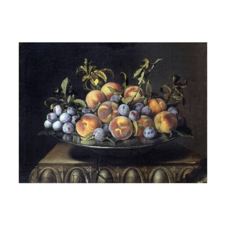 Peaches and Plums in a Pewter Plate by Pierre Dupuis Print Wall - Pewter Arts