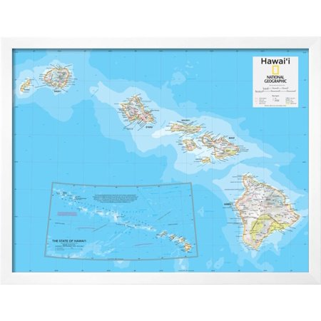 2014 Hawaii - National Geographic Atlas of the World, 10th Edition Framed Poster Wall Art By National Geographic Maps ()