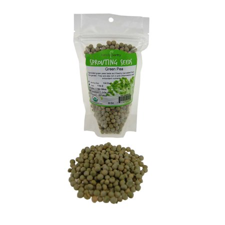 Certified Organic Dried Green Pea Sprouting Seed - 8 Oz - Handy Pantry Brand - Green Pea for Sprouts, Garden Planting, Cooking, Soup, Emergency Food Storage, Vegetable