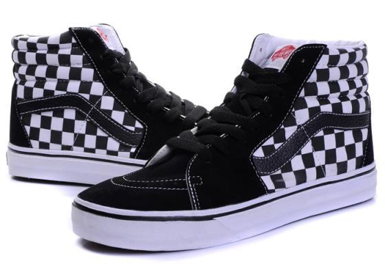 Vans SK8 Hi Checkerboard Black/True White Women's Skate Shoes Size 6.5
