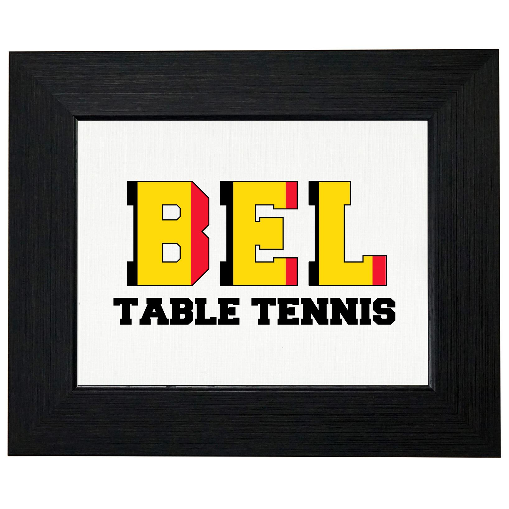 Belgium Ping Pong Olympic Games Rio Flag Framed Print Poster Wall or Desk Mount Options by Royal Prints