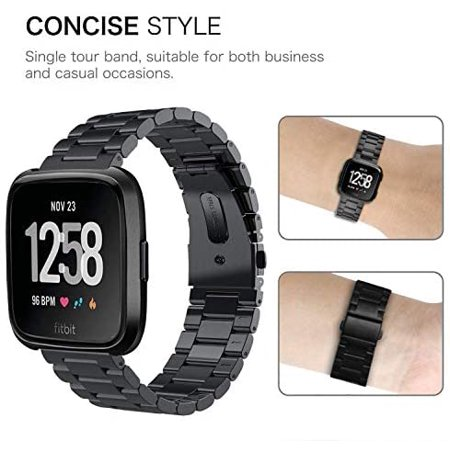 V-MORO Straps Compatible with Fitbit Versa/Versa 2 Watch Band Solid Stainless Steel Metal Business Replacement Bracelet - image 3 of 5