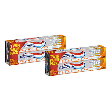 (4 Pack) Aquafresh Extreme Clean Mint Blast Fluoride Toothpaste Twin Pack, 5.6 oz Toothpaste Extra Whitening Clean Mint