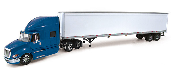 International ProStar+ with 53' Trailer Blue White 1 64 Diecast Model by First Gear by First Gear