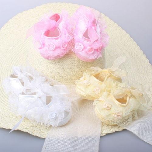 Newborn Baby Girl Flower Anti-slip Crib Shoes Soft Sole Sneakers Prewalker 0-12M