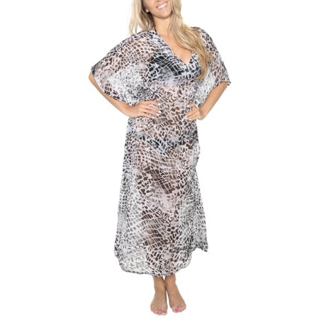 LA LEELA Women's Plus Size CHIFFON HD Designer Drawstring Caftan Dress L-4X