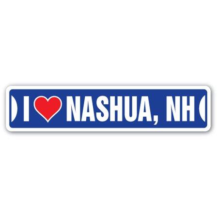 I LOVE NASHUA, NEW HAMPSHIRE Street Sign nh city state us wall road décor - Party City Salem Nh
