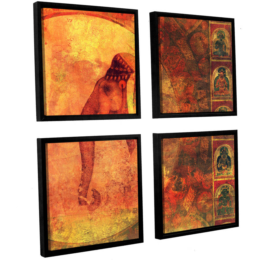 "ArtWall Elena Ray ""Buddhist Elephant"" 4-Piece Floater-framed Canvas Square Set"