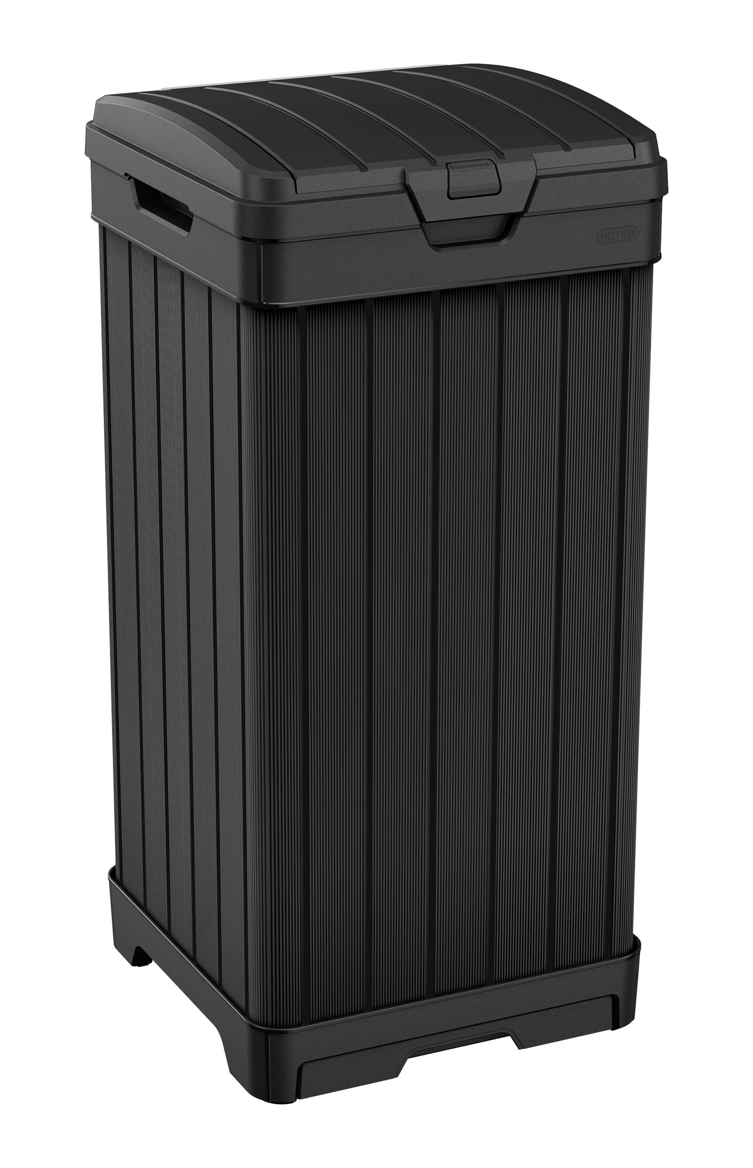 Keter Baltimore Duotech Outdoor Trash Can Resin Wastebin Black Woodlook Walmart Com Walmart Com