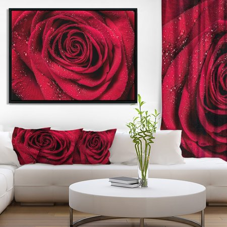 DESIGN ART Designart 'Red Rose Petals with Rain Droplets' Floral Art Framed Canvas Print ()