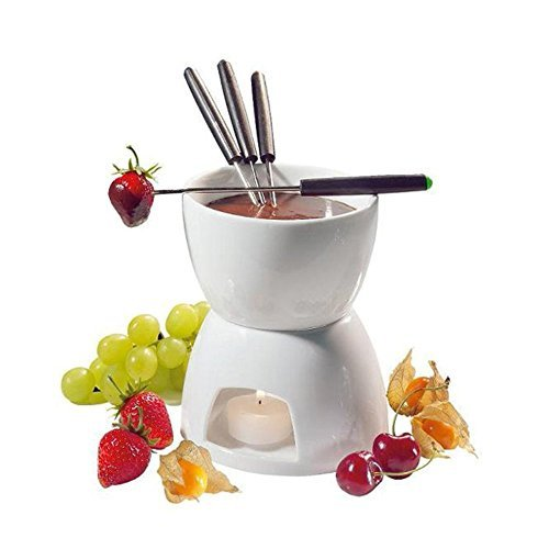 Ceramic Chocolate Fondue Set w/ Forks - Tea Light Porcela...
