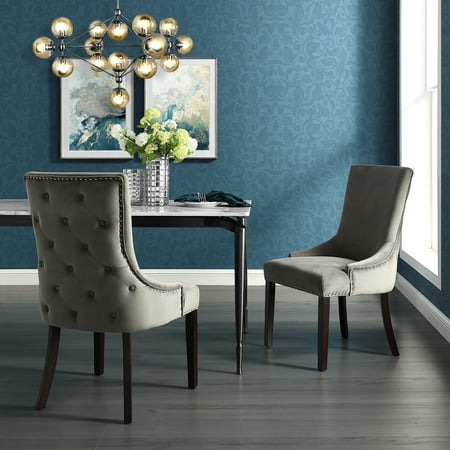 Pleasant Annabelle Grey Velvet Dining Chair Set Of 2 Back Tufted Nailhead Trim Finish Gmtry Best Dining Table And Chair Ideas Images Gmtryco