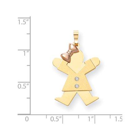 14K deux tons d'or AA diamant Kid (20x30mm) Pendentif / Breloque - image 1 de 2
