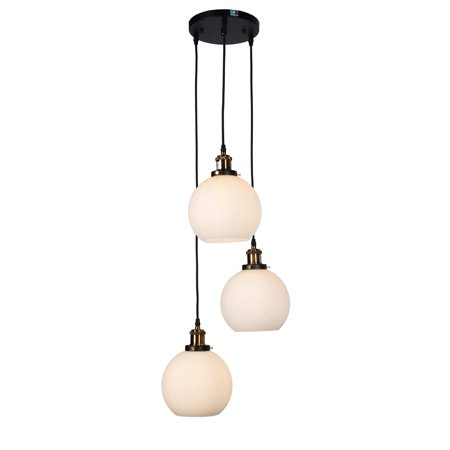 Vizzel Black 3-light Pendant Chandelier with Frosted Glass Globe Shades (includes Edison Bulbs) 1 Tier Frosted Glass Chandelier