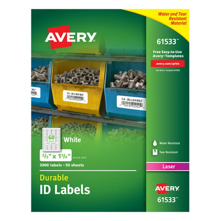 Avery Durable White Cover Up ID Labels for Laser Printers, 0.67 x 1.75, Pack of 3000 (61533) White Id Label