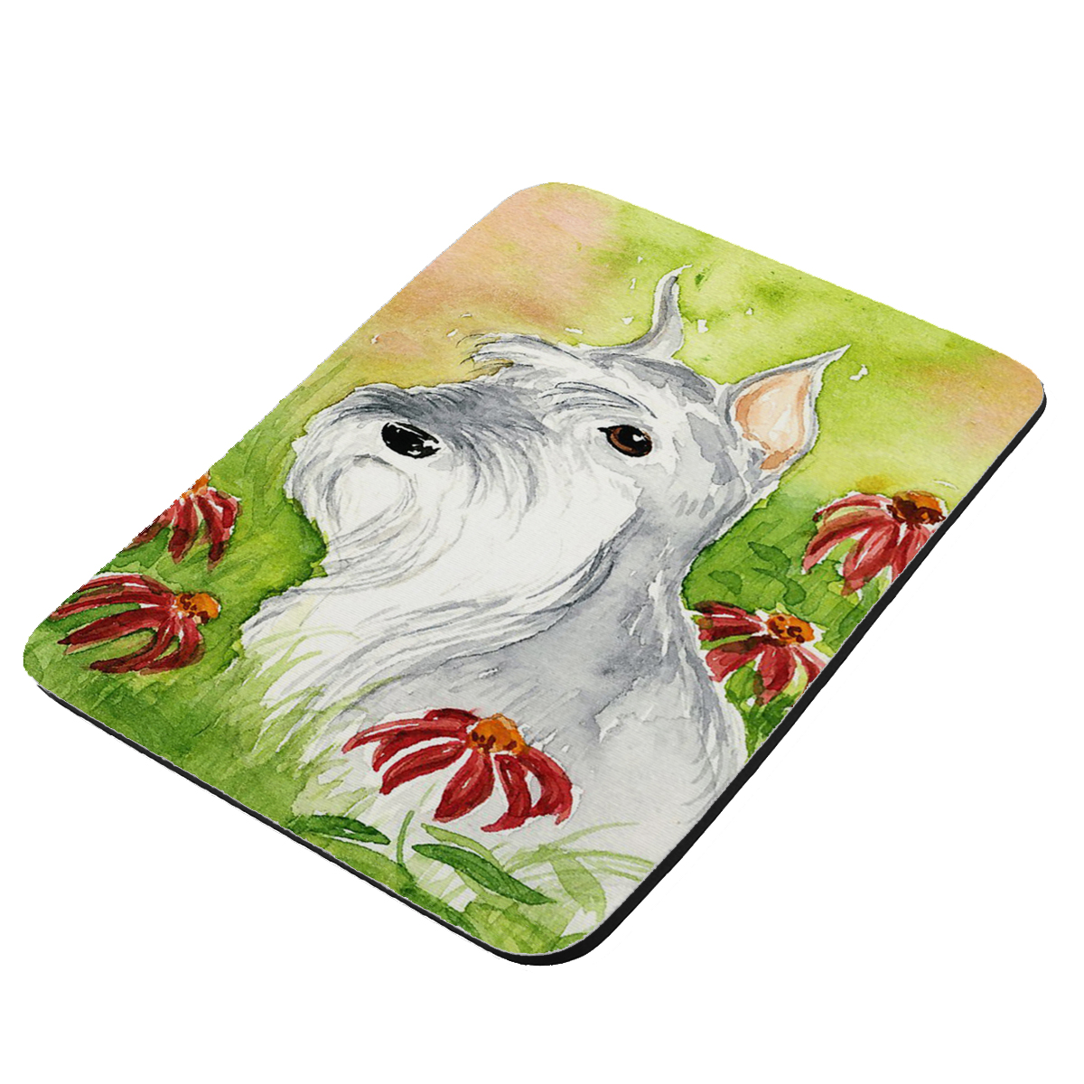 Miniature Schnauzer Art by Denise Every - KuzmarK Mousepad / Hot Pad / Trivet
