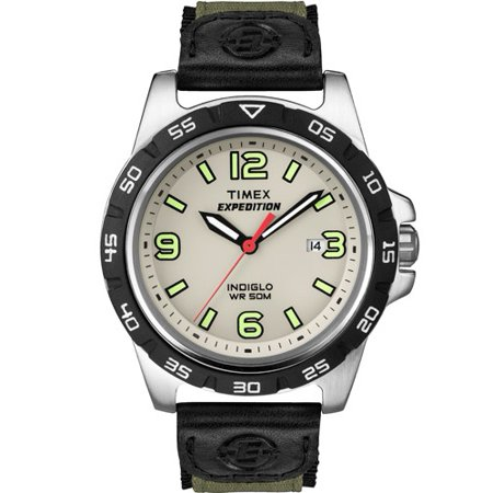 Men S T49884 Expedition Rugged Metal Field Green Nylon Strap Watch
