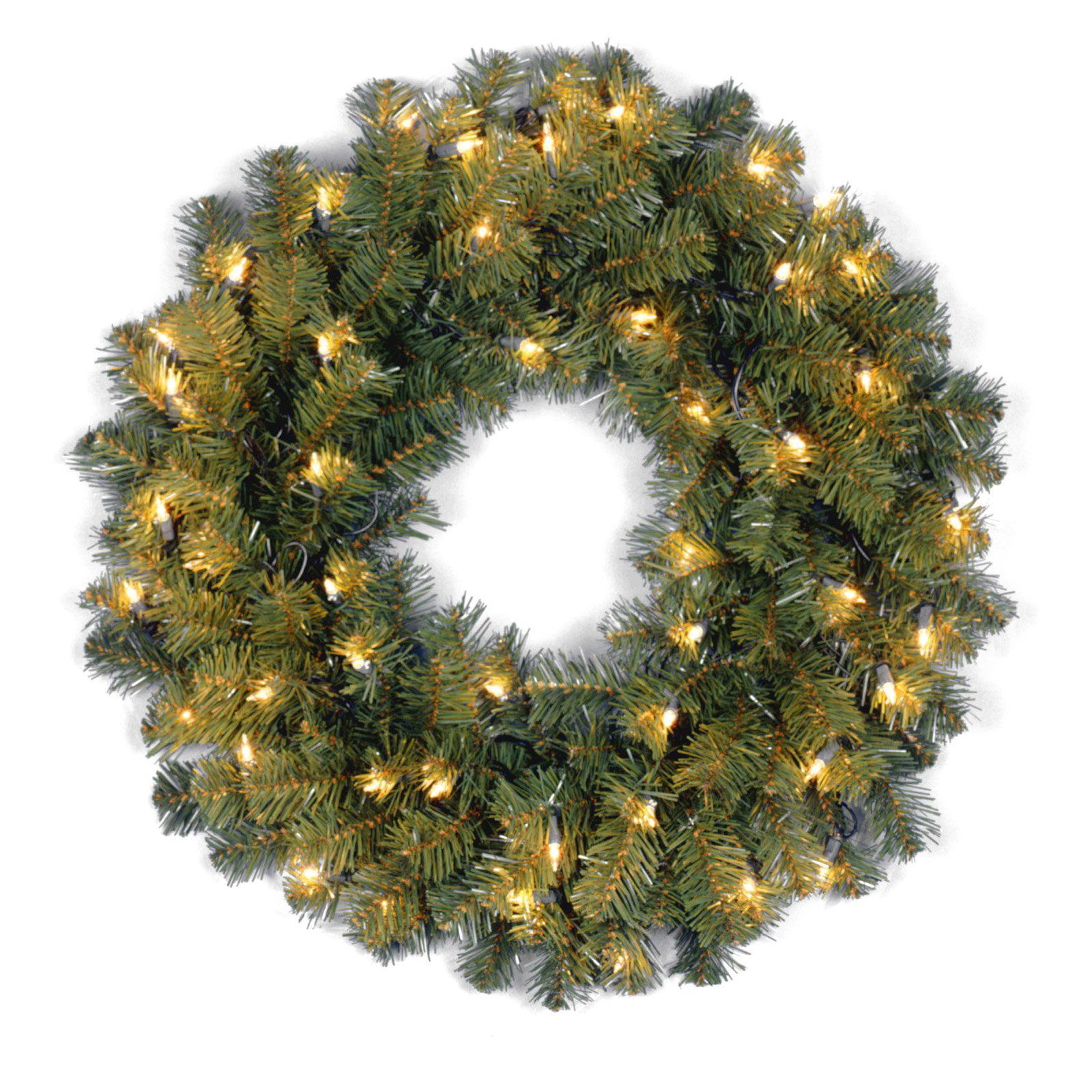 24 in. Kincaid Spruce Pre-Lit Christmas Wreath - Clear