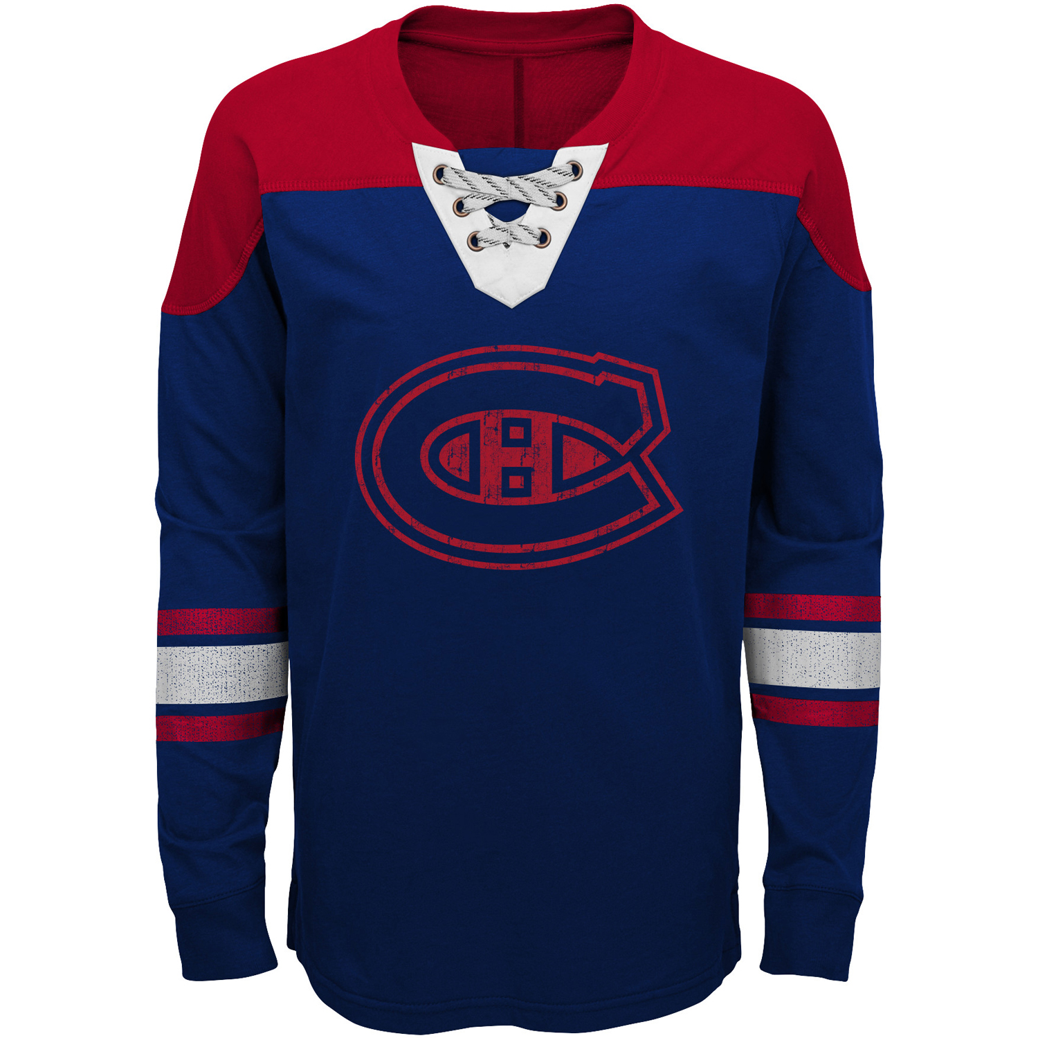 Montreal Canadiens Youth Perennial Hockey Lace-Up Crew Sweatshirt Navy Red by Outerstuff