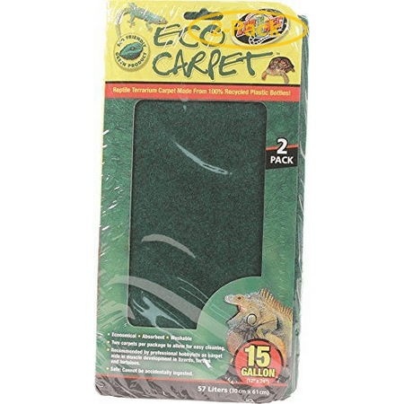 Zoo Med Cage Carpet - Zoo Med Reptile Cage Carpet 10 - 20 Gallon Tanks - 24 Long x 12 Wide (2 Pack) - Pack of 2