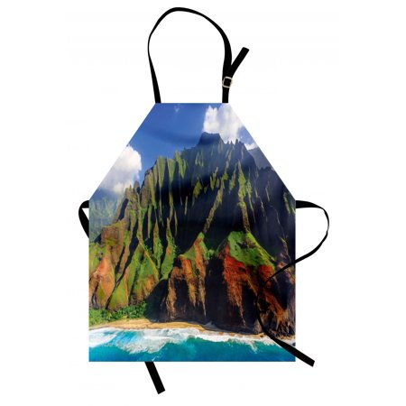 Aaron Photograph - Hawaiian Apron Aerial View of Na Pali Coast Kauai Hawaii Mountain Cliff Seacoast Scenic Photo, Unisex Kitchen Bib Apron with Adjustable Neck for Cooking Baking Gardening, Green Brown, by Ambesonne