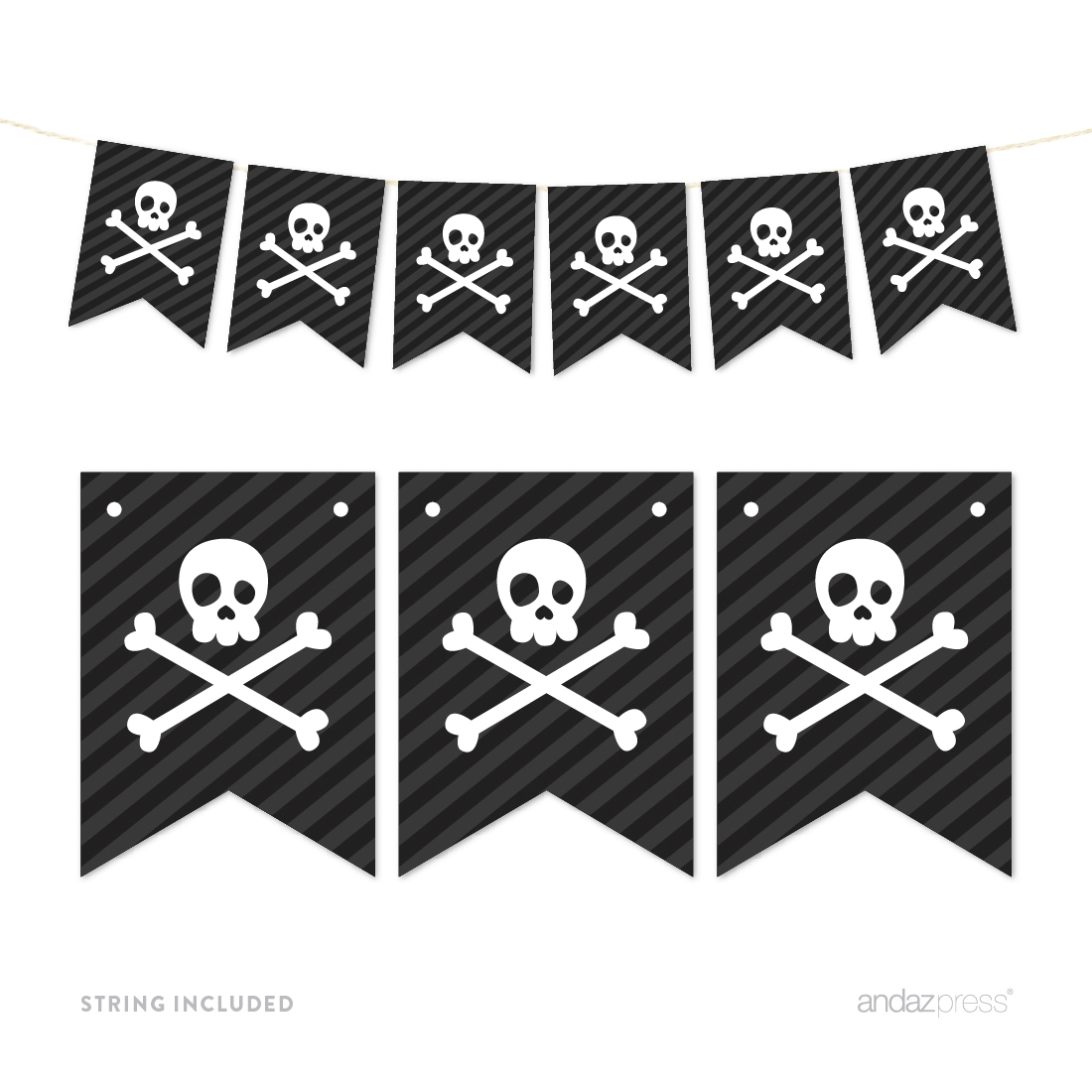 Pennant Party Banner Pirate Skull and Crossbones