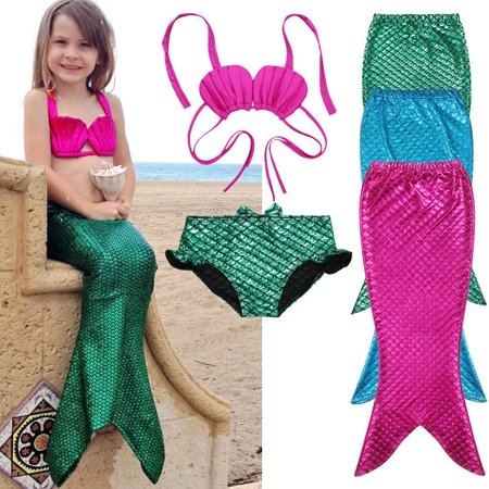 3PCS Girl Kids Mermaid Tail Swimmable Bikini Set Bathing Suit Fancy Costume
