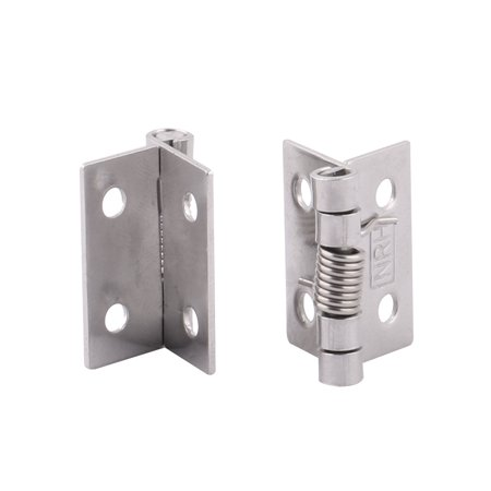 1 Inch Length Home Stainless Steel Closet Cabinet Door Hinges Silver Tone 2 Pcs Image