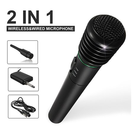Singing Machine Unidirectional Dynamic Karaoke Handheld Microphone Wired Or Wireless with 10 Ft. Cord