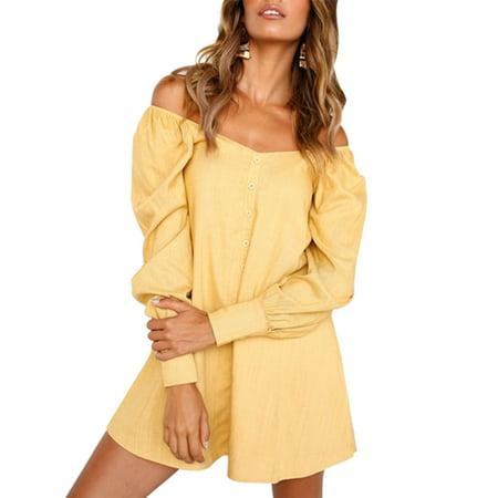 2686ae406c48 Sexy Dance - Off Shoulder Shirt Dress Women Cold Shoulder Bardot Long Sleeve  Casual Tops Summer Button Loose Slash Neck T Shirt Dress - Walmart.com