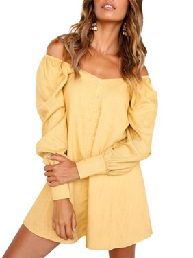 93dfa6e68461 Product Image Off Shoulder Shirt Dress Women Cold Shoulder Bardot Long Sleeve  Casual Tops Summer Button Loose Slash