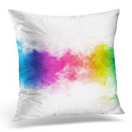 ECCOT Green The Explosion of Multi Colored Powder Beautiful Rainbow Color Fly Away Cloud Glowing on White Blue Pillowcase Pillow Cover Cushion Case 20x20 inch (Powder Blue Pillowcases)