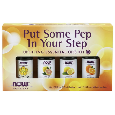 Essential Kit (NOW Essential Oils, Put Some Pep in Your Step Uplifting Aromatherapy Kit, 4x10ML Including, Orange Oil, Lemon Oil, Grapefruit Oil and Cheer Up Buttercup! OIl)