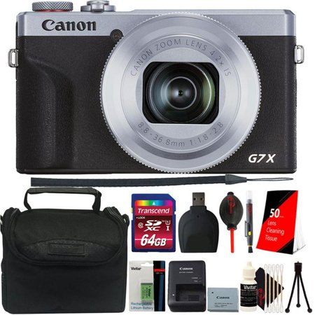 Canon PowerShot G7 X Mark III Full HD 120p Video Digital Camera - Silver Accessory Kit + Extra Battery