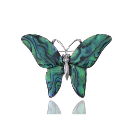 Medium Glossy Watermarks Abalone Shell Winged Butterfly Silver Tone Pin Brooch