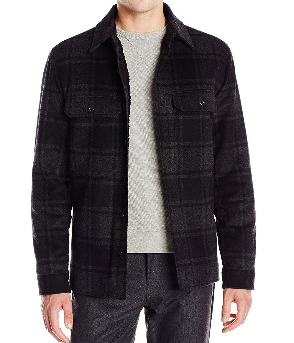 Vince. New Black Gray Men's Size XL Plaid Wool Buttoned Up Jacket by Vince.