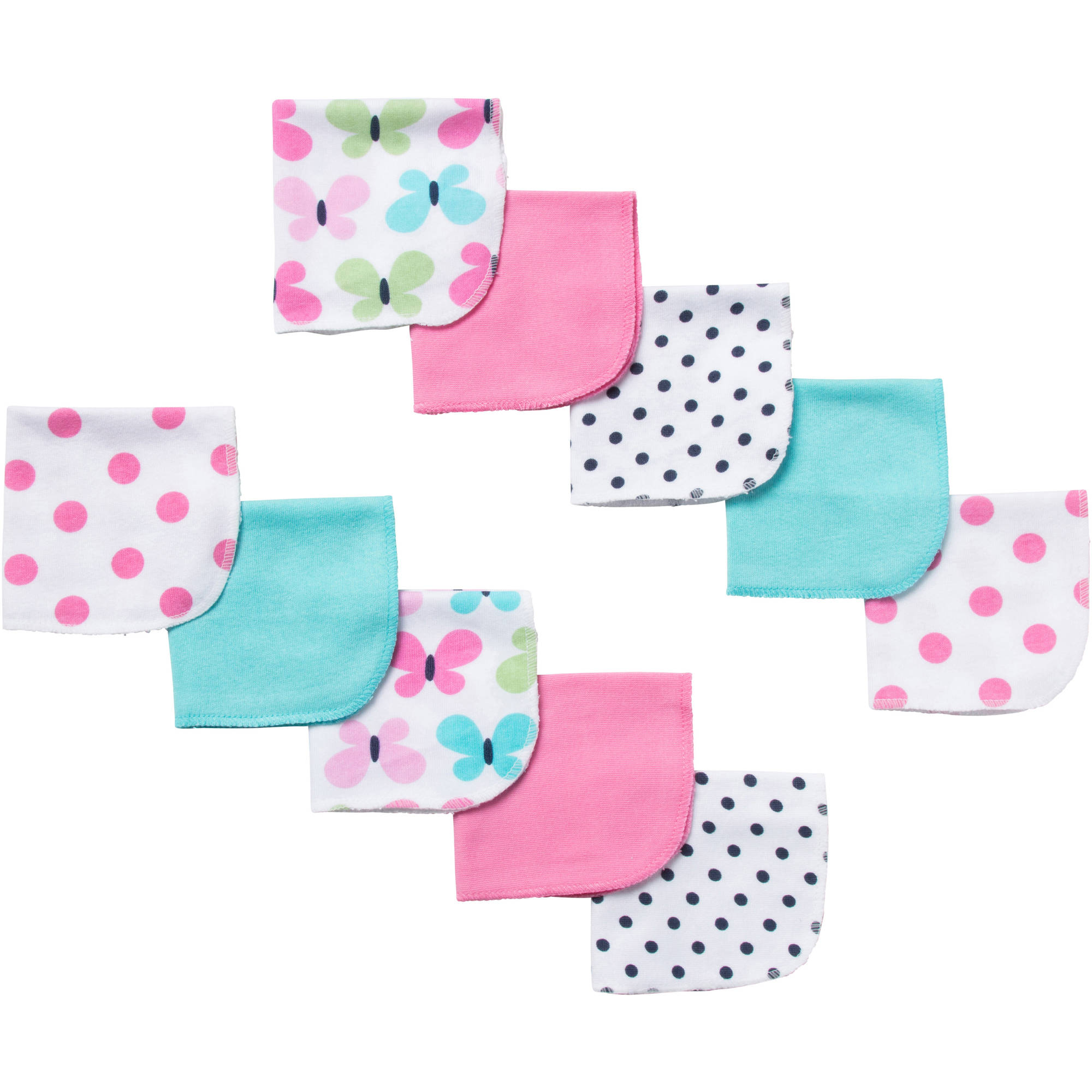Gerber Newborn Baby Girl Terry Printed Butterfly Washcloths - 10 pack