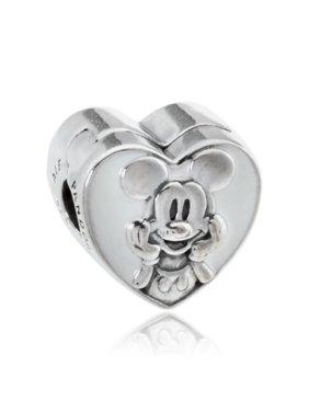 66e192f27 Product Image Vintage Mickey, Mickey silver heart clip w/whi Charm  797169EN12. PANDORA
