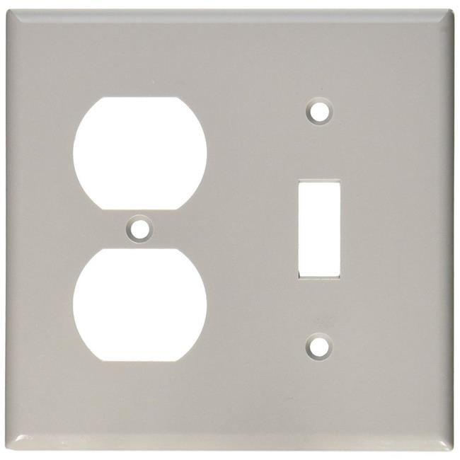 Leviton 013-87005 4.56 x 4.5 in. 2 Gang Standard Gray Toggle & Duplex Wall Plate, Gray - image 1 de 1