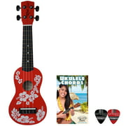 Rise by Sawtooth Beginner\'s Ukulele with Picks, Hibiscus Red