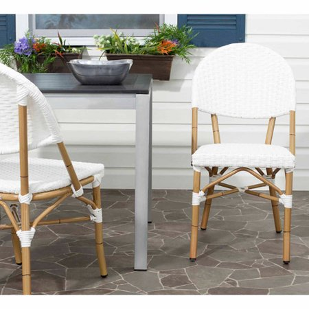 Safavieh Barrow Wicker Indoor-Outdoor Stacking Side Chair, Off White, Set of 2 ()