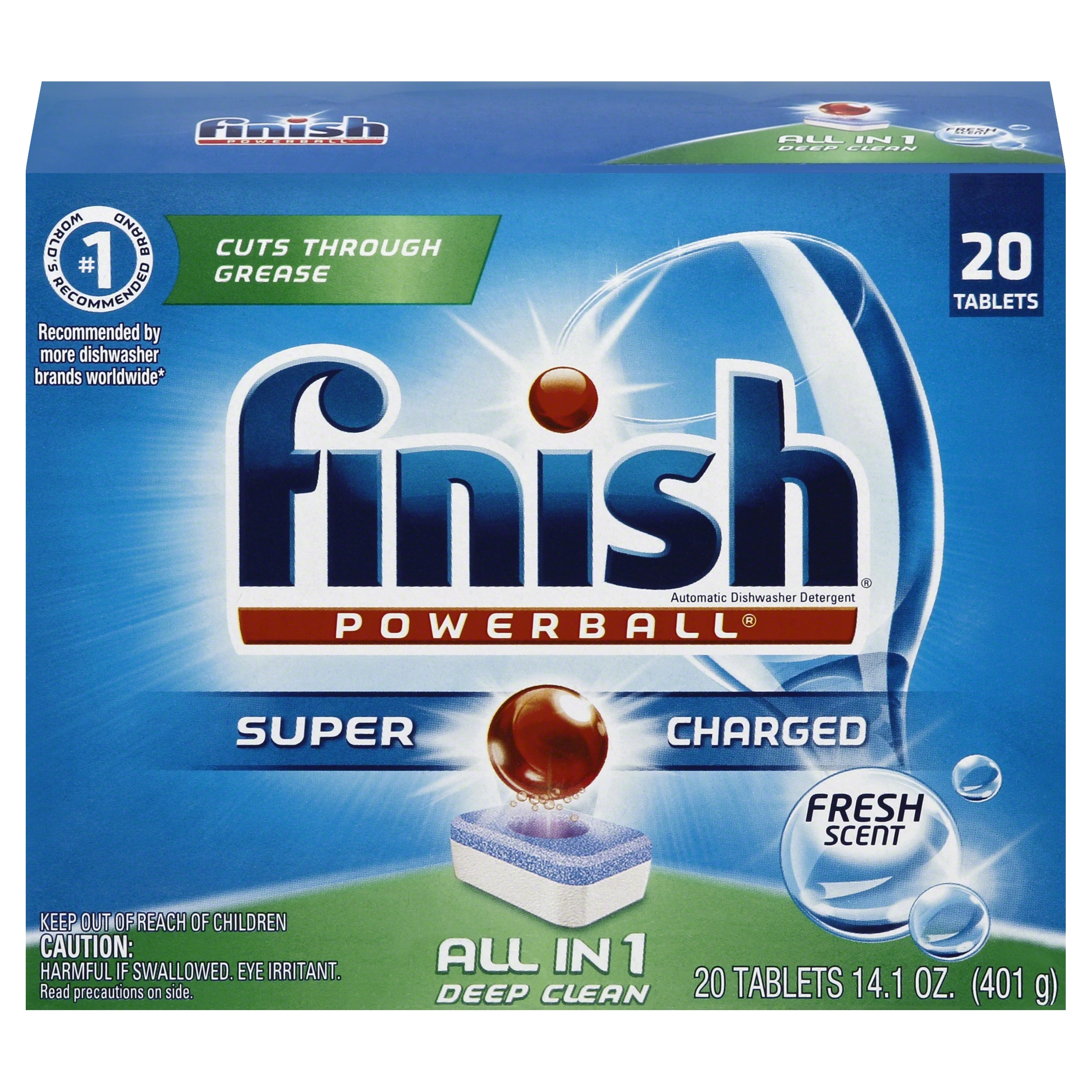 Finish Powerball Tabs Dishwasher Detergent, Fresh Scent, 20 Count