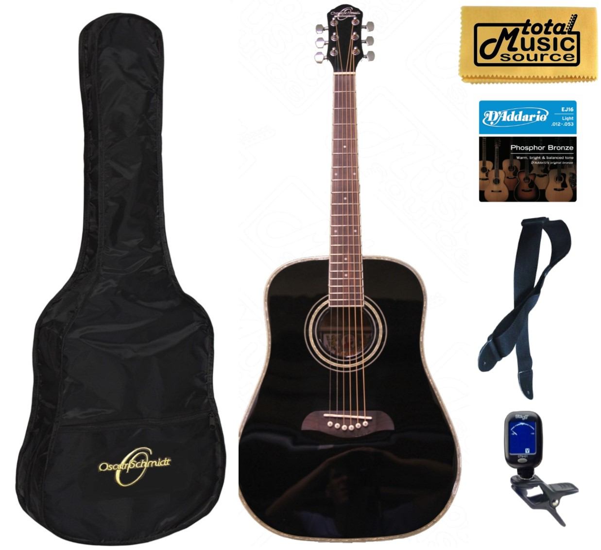 Oscar Schmidt Left Hand Dreadnought Style 3/4 Size Black Acoustic Guitar,Bundle w/Bag OG1BLH, OG1BLH BAGPACK