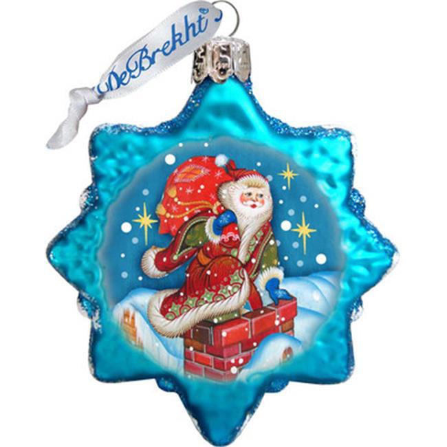 G Debrekht Keepsake Through The Roof Santa Glass Ornament
