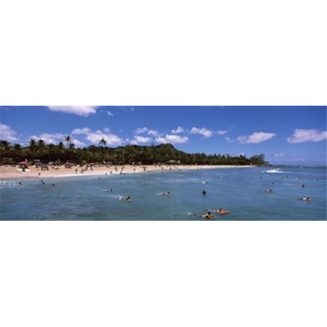 Tourists on the beach  Waikiki Beach  Honolulu  Oahu  Hawaii  USA Poster Print by  - 36 x 12 - image 1 of 1